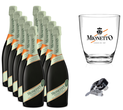 Komplekts Nr.42  Mionetto Prosecco BIO  Extra Dry D.O.C  11%  0.75l  12 pudeles +  ledus trauks + korķis