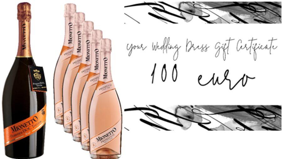 Kāzu komplekts Nr.2 Mionetto Prosecco Brut 11% viena 1,5l pudele + trīsdesmit sešas 0,75l pudeles. Prosecco Rose Extra Dy + Dāvanu karte 100 eiro vērtībā (kāzu kleitas iegādei)  no BRIDAL BOUTQUE 6 SEPTEMDRIS
