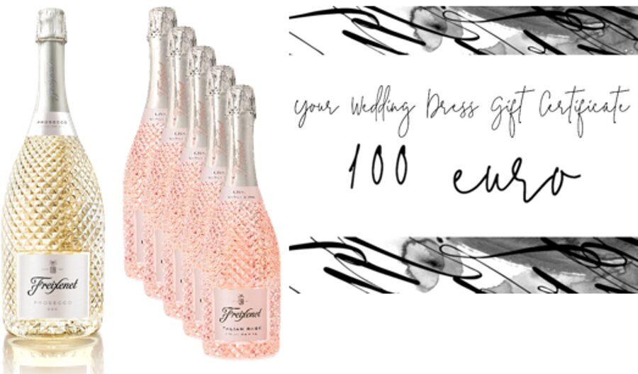 Kāzu komplekts Nr.4 Freixenet Prosecco Extra Dry 11% viena 1,5l pudele + Italian Rose trīsdesmit sešas 0,75l pudeles + Dāvanu karte 100 eiro vērtībā (kāzu kleitas iegādei) no BRIDAL BOUTQUE 6 SEPTEMDRIS