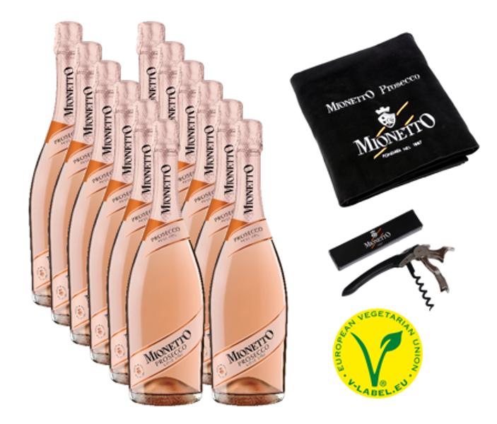 Komplekts Nr.40  Mionetto Prosecco Rose Extra Dry  D.O.C 11%  0.75l 12gab + Pleds + korķviļķis