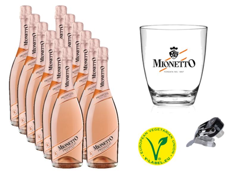 Komplekts Nr.41  Mionetto Prosecco Rose Extra Dry  D.O.C 11% 0.75l  12 pudeles +  ledus trauks + korķis